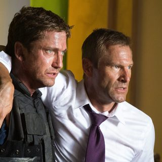Gerard Butler stars as Mike Banning and Aaron Eckhart stars as President Benjamin Asher in FilmDistrict's Olympus Has Fallen (2013)