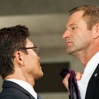 Rick Yune stars as Kang and Aaron Eckhart stars as President Benjamin Asher in FilmDistrict's Olympus Has Fallen (2013)