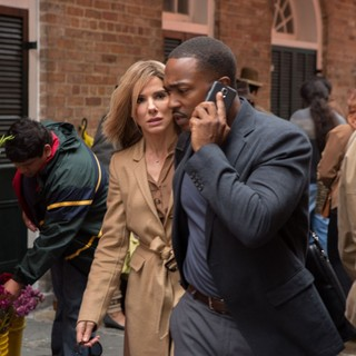 Sandra Bullock (stars as 'Calamity' Jane Bodine) and Anthony Mackie in Warner Bros. Pictures' Our Brand Is Crisis (2015)