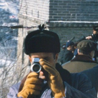 Chief of Staff H.R. 'Bob' Haldeman, one of the amateur filmmakers whose Super 8 footage is showcased in the film, films his assistant filming him at the Great Wall of China (February 1972)