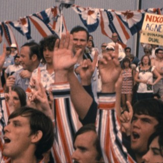 A choral group greets President Nixon on the 1972 campaign trail