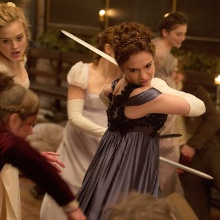 Bella Heathcote and Lily James in Screen Gems' Pride and Prejudice and Zombies (2016)