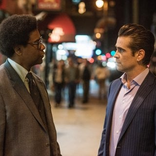 Denzel Washington stars as Roman J. Israel and Colin Farrell stars as George in Sony Pictures' Roman J. Israel, Esq. (2017)