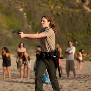 Vanessa Lee Evigan stars as Brenda Stone in Little Dragon Productions' Sand Sharks (2012)