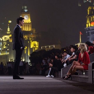 Daniel Henney stars as Sam and Eliza Coupe stars as Amanda in Starz Media's Shanghai Calling (2013)