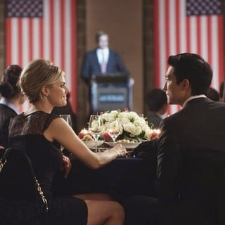 Eliza Coupe stars as Amanda and Daniel Henney stars as Sam in Starz Media's Shanghai Calling (2013)