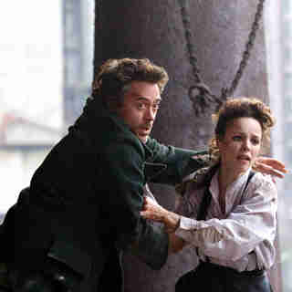 Robert Downey Jr. stars as Sherlock Holmes and Rachel McAdams stars as Irene Adler in Warner Bros. Pictures' Sherlock Holmes (2009)