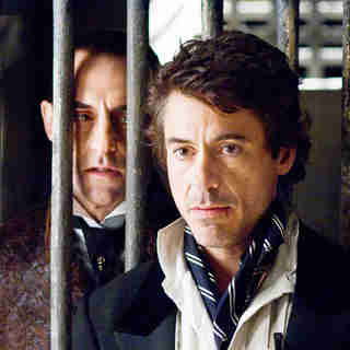 Mark Strong stars as Lord Blackwood and Robert Downey Jr. stars as Sherlock Holmes in Warner Bros. Pictures' Sherlock Holmes (2009)