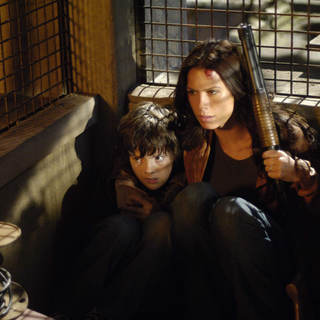 Matthew Knight as Timothy and Rhona Mitra as Rachel in Lions Gate Films' Skinwalkers (2007)