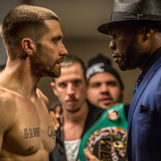 Jake Gyllenhaal (stars as Billy Hope) and 50 Cent in The Weinstein Company's Southpaw (2015)