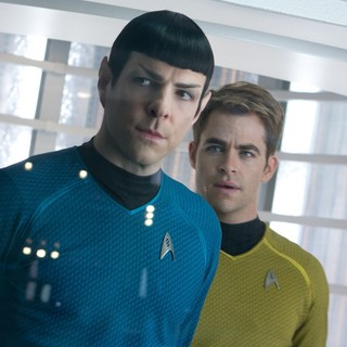Star Trek Into Darkness - Zachary Quinto stars as Spock and Chris Pine stars as James T. Kirk in Paramount Pictures' Star Trek Into Darkness (2013)