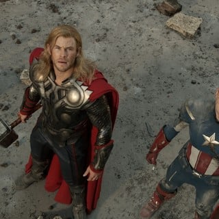 Chris Hemsworth stars as Thor and Chris Evans stars as Steve Rogers/Captain America in Walt Disney Pictures' The Avengers (2012)