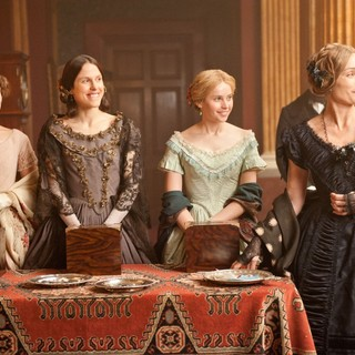 Perdita Weeks, Amanda Hale, Felicity Jones and Kristin Scott Thomas in Sony Pictures Classics' The Invisible Woman (2013). Photo credit by David Appleby.