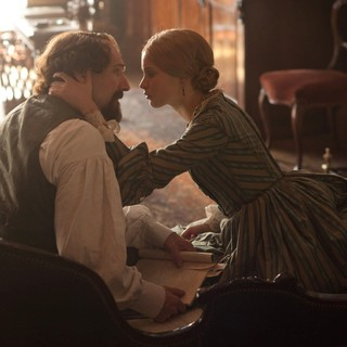 Ralph Fiennes stars as Charles Dickens and Felicity Jones stars as Nelly Ternan in Sony Pictures Classics' The Invisible Woman (2013)
