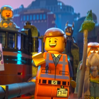 Emmet, Batman and Vitruvius from Warner Bros. Pictures' The Lego Movie (2014)