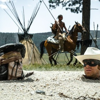 Lone Ranger, The - Johnny Depp stars as Tonto and Armie Hammer stars as John Reid/The Lone Ranger in Walt Disney Pictures' The Lone Ranger (2013)