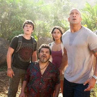 Josh Hutcherson, Vanessa Hudgens, The Rock and Luis Guzman in Warner Bros. Pictures' Journey 2: The Mysterious Island (2012)
