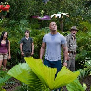Luis Guzman, Vanessa Hudgens, Josh Hutcherson, The Rock and Michael Caine in Warner Bros. Pictures' Journey 2: The Mysterious Island (2012)