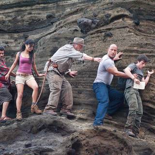 Luis Guzman, Vanessa Hudgens, Michael Caine, The Rock and Josh Hutcherson in Warner Bros. Pictures' Journey 2: The Mysterious Island (2012)