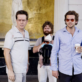 Ed Helms, Zach Galifianakis and Bradley Cooper in Warner Bros. Pictures' The Hangover (2009) - the_hangover20