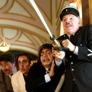Alfred Molina, Andy Garcia, Yuki Matsuzaki and Steve Martin in Columbia Pictures' The Pink Panther 2 (2009). Photo credit by Peter Iovino.
