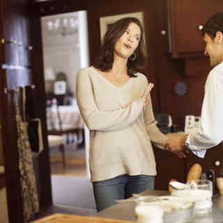 Catherine Zeta-Jones stars as Sandy and Justin Bartha stars as Aram Finklestein in The Weinstein Company's The Rebound (2010)