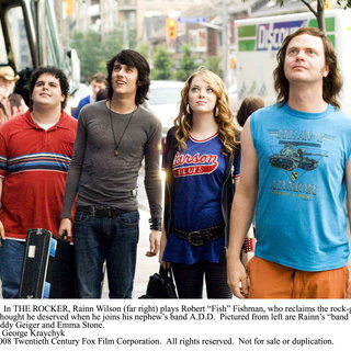 Josh Gad, Teddy Geiger, Emma Stone, and Rainn Wilson in 20th Century Fox's (2008). Photo credit by George Kraychyk. - the_rocker02