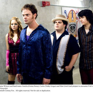 Emma Stone, Rainn Wilson, Josh Gad, and Teddy Geiger in 20th Century Fox's (2008). Photo credit by George Kraychyk. - the_rocker09
