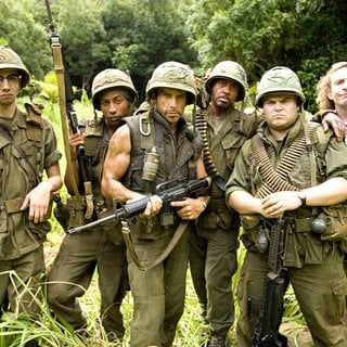 Jay Baruchel,Brandon Jackson, Ben Stiller, Robert Downey Jr., Jack Black and Steve Coogan in DreamWorks Pictures' Tropic Thunder (2008). Photo credit by Merie Weismiller Wallace.