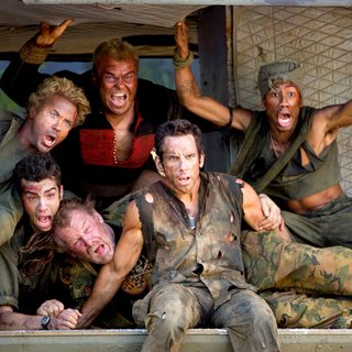 Robert Downey Jr., Jay Baruchel, Nick Nolte, Jack Black, Ben Stiller and Brandon Jackson in DreamWorks Pictures' Tropic Thunder (2008). Photo credit by Merie Weismiller Wallace.