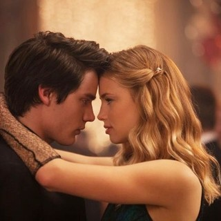 Vampire Academy - Dominic Sherwood stars as Christian Ozera and Lucy Fry stars as Lissa Dragomir in The Weinstein Company's Vampire Academy (2014). Photo credit by Laurie Sparham.