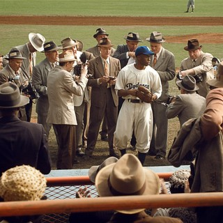 Chadwick Boseman stars as Jackie Robinson in Warner Bros. Pictures' 42 (2013) - warner-42-08