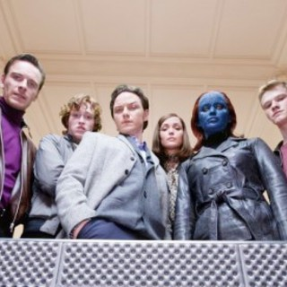 Michael Fassbender, Caleb Landry Jones, James McAvoy, Rose Byrne, Jennifer Lawrence and Lucas Till in 20th Century Fox's X-Men: First Class (2011)