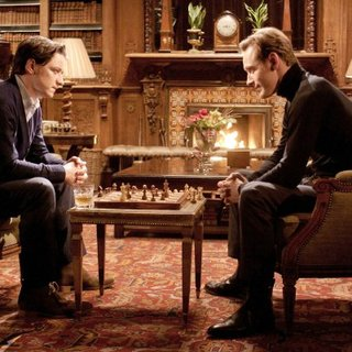 James McAvoy stars as Professor Charles Xavier and Michael Fassbender stars as Erik Lehnsherr/Magneto in 20th Century Fox's X-Men: First Class (2011)