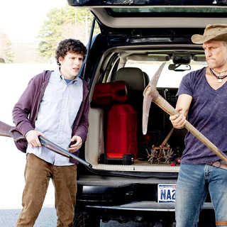 Jesse Eisenberg stars as Columbus and Woody Harrelson stars as Tallahassee in Columbia Pictures' Zombieland (2009). Photo credit by Glen Wilson.