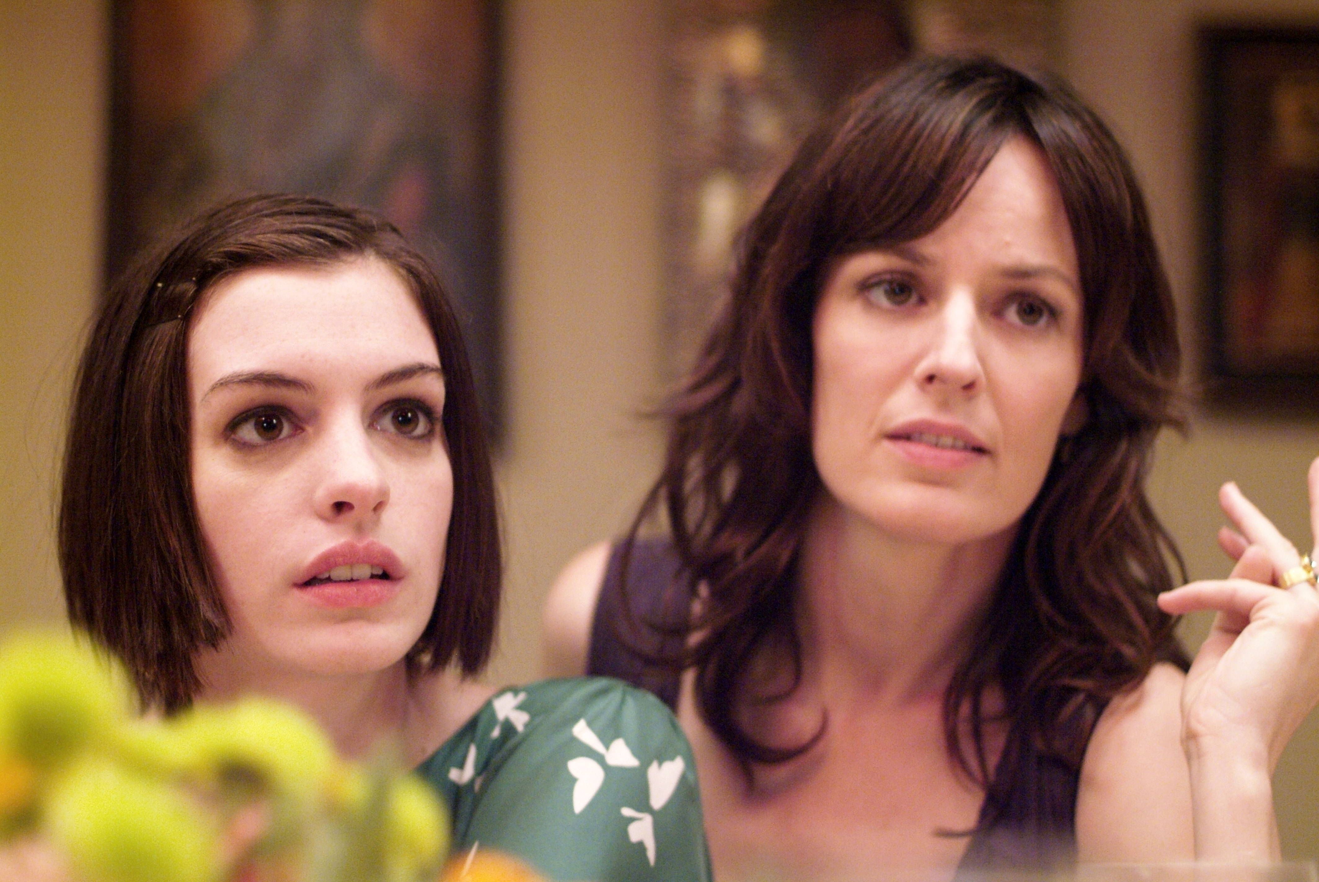 Anne Hathaway as Kym and Rosemarie DeWitt as Rachel in Sony Pictures Classics' Rachel Getting Married (2008). Photo by Bob Vergara.