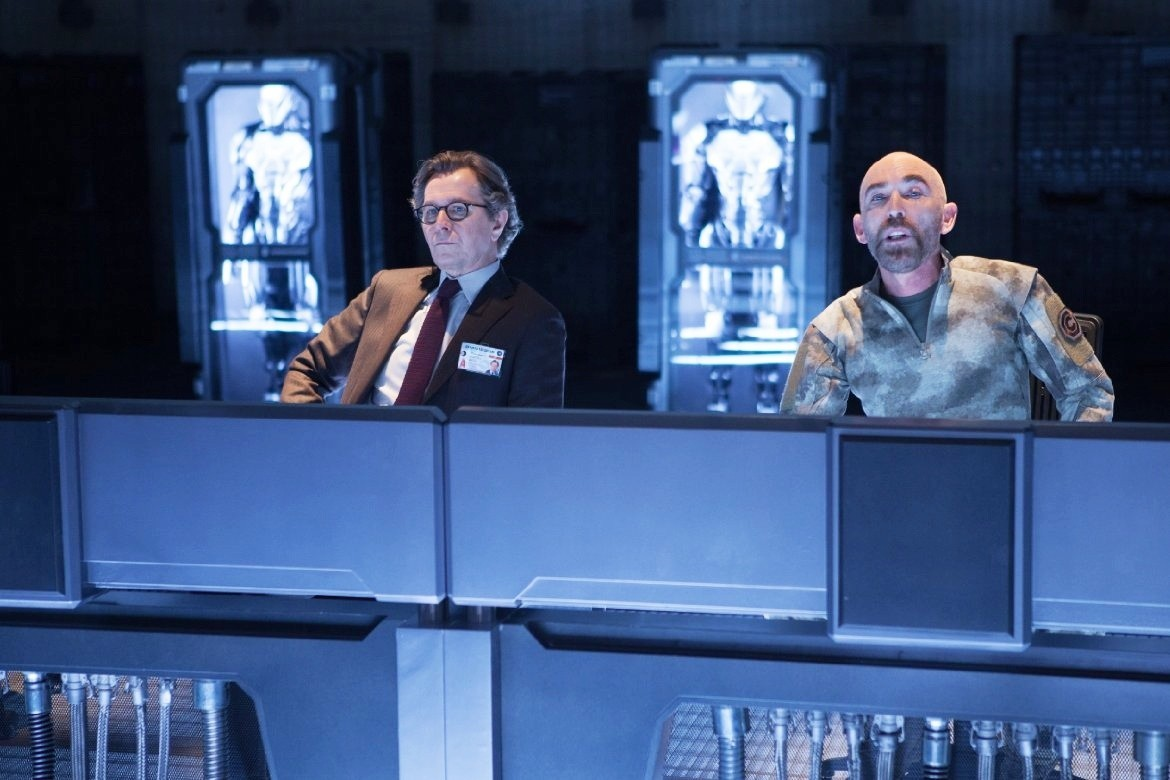 Gary Oldman stars as Dr. Dennett Norton and Jackie Earle Haley stars as Mattox in Columbia Pictures' RoboCop (2014). Photo credit by Kerry Hayes.