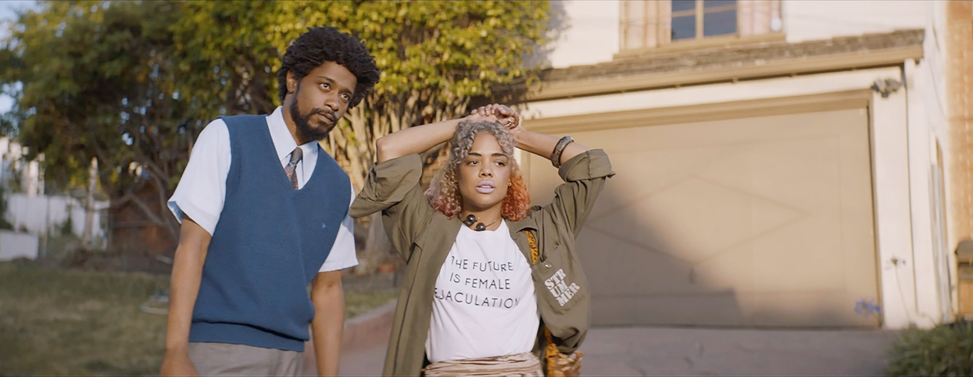 Keith Stanfield stars as Cassius 'Cash' Green and Tessa Thompson stars as Detroit in Annapurna Pictures' Sorry to Bother You (2018)