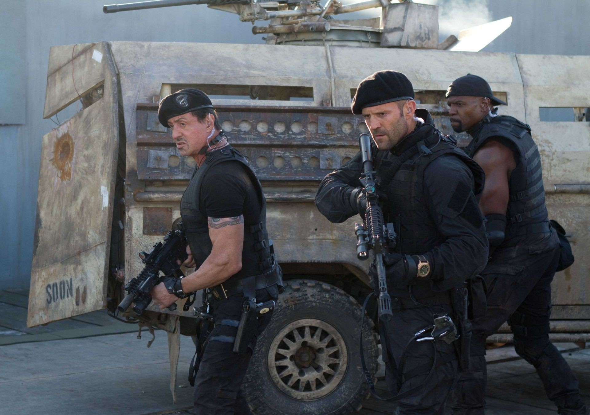 Sylvester Stallone, Jason Statham and Terry Crews in Lionsgate Films' The Expendables 2 (2012)
