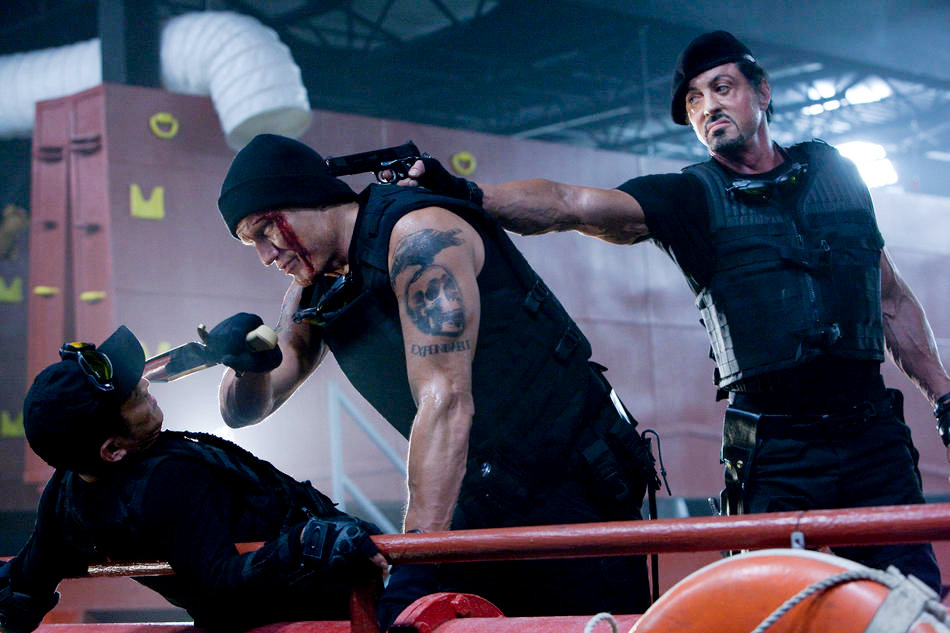 Jet Li, Randy Couture and Sylvester Stallone in Lionsgate Films' The Expendables (2010)