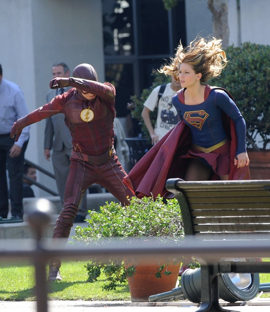 Filming Scenes for Supergirl