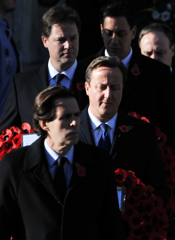 Nick Clegg, David Cameron, Ed Miliband<br>Sunday Commemorating Sacrifices of The Armed Forces