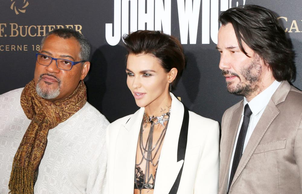 Laurence Fishburne, Ruby Rose, Keanu Reeves<br>Los Angeles Premiere of John Wick: Chapter 2 - Arrivals