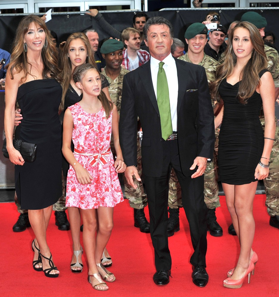 Jennifer Flavin, Sistine Stallone, Scarlet Rose Stallone, Sylvester Stallone, Sophia Rose Stallone<br>The Expendables 2 UK Premiere - Arrivals