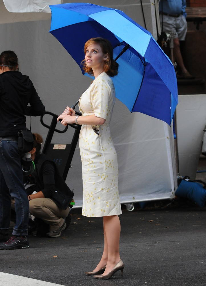 Kelli Garner on The Set of Pan Am Filming on Location in Brooklyn