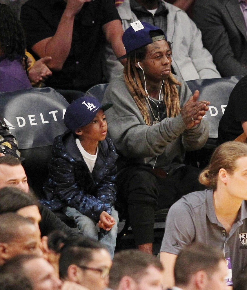 Lil Wayne<br>Lil Wayne at The Los Angeles Lakers Game with His Son