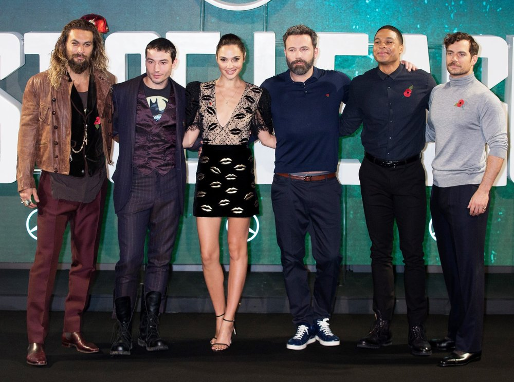 Jason Momoa, Ezra Miller, Gal Gadot, Ben Affleck, Ray Fisher, Henry Cavill<br>London Photocall for Justice League