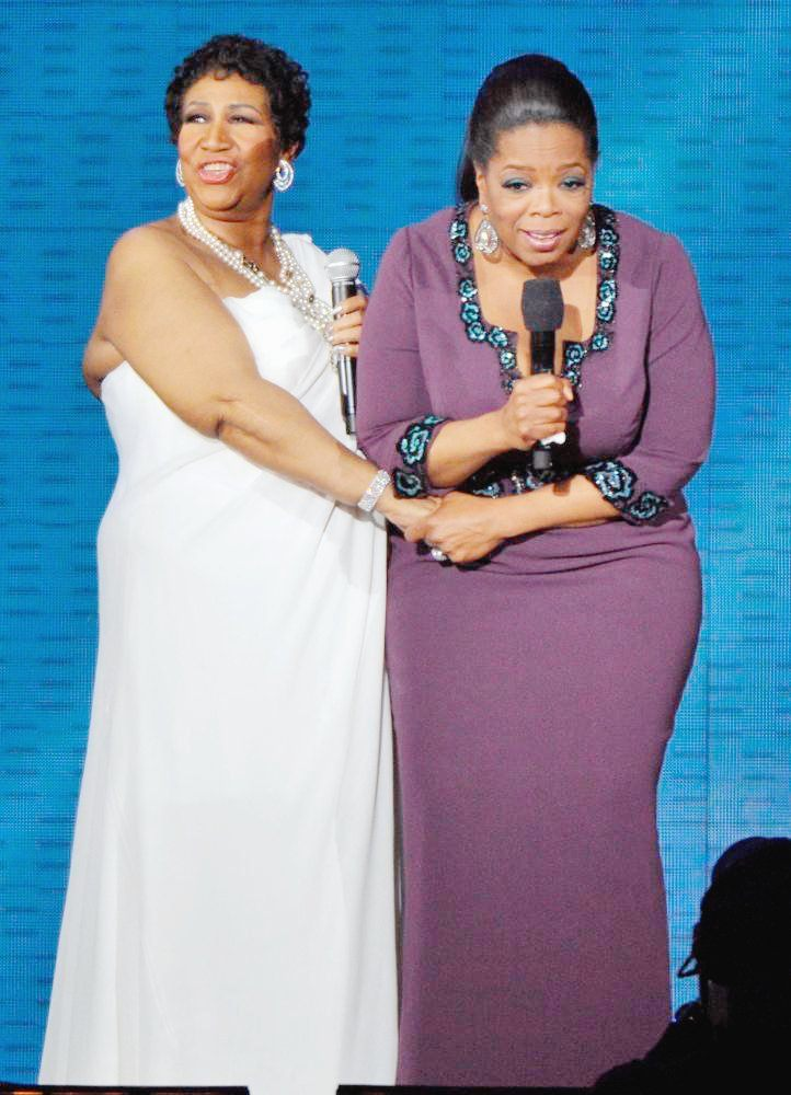 Aretha Franklin and Oprah Winfrey During Surprise Oprah A Farewell Spectacular