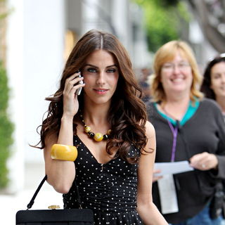 Jessica Lowndes in On The Set of '90210' filming on Location at Robertson Boulevard