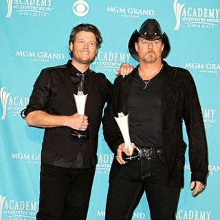 Blake Shelton, Trace Adkins in The 45th Annual Academy of Country Music Awards - Press Room